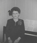 1949 - Mother at Acrosonic by Baldwin piano