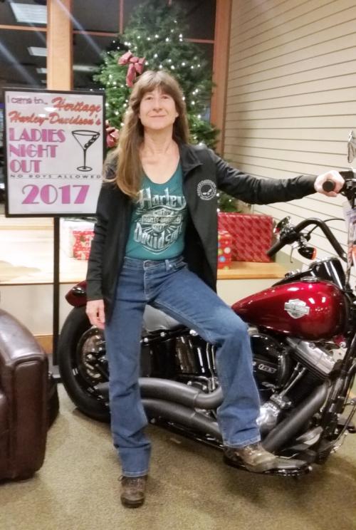 2017Dec7 - Bogie Modeling Tee - Harley Dealership Ladies Night