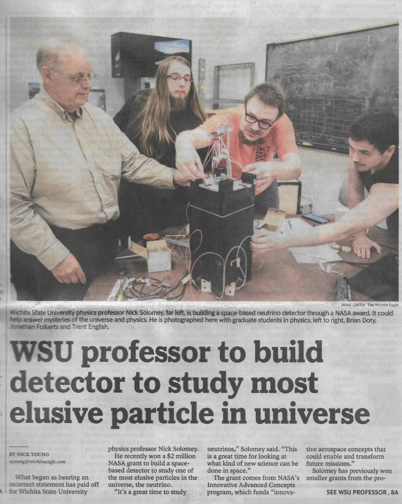2021-7-25 - Prof Solomey's Neutrino Detection Project in Wichita Eagle (2)