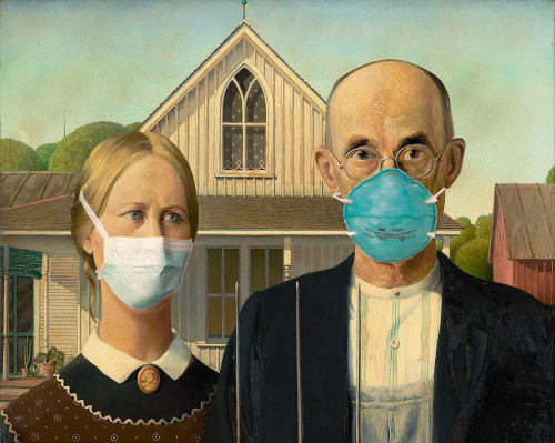 Face Masks on American Gothic